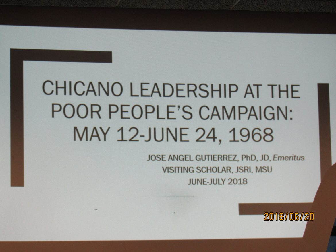 Jose Angel Gutierrez Discusses the Poor People's Campaign From 1968 At MSU
